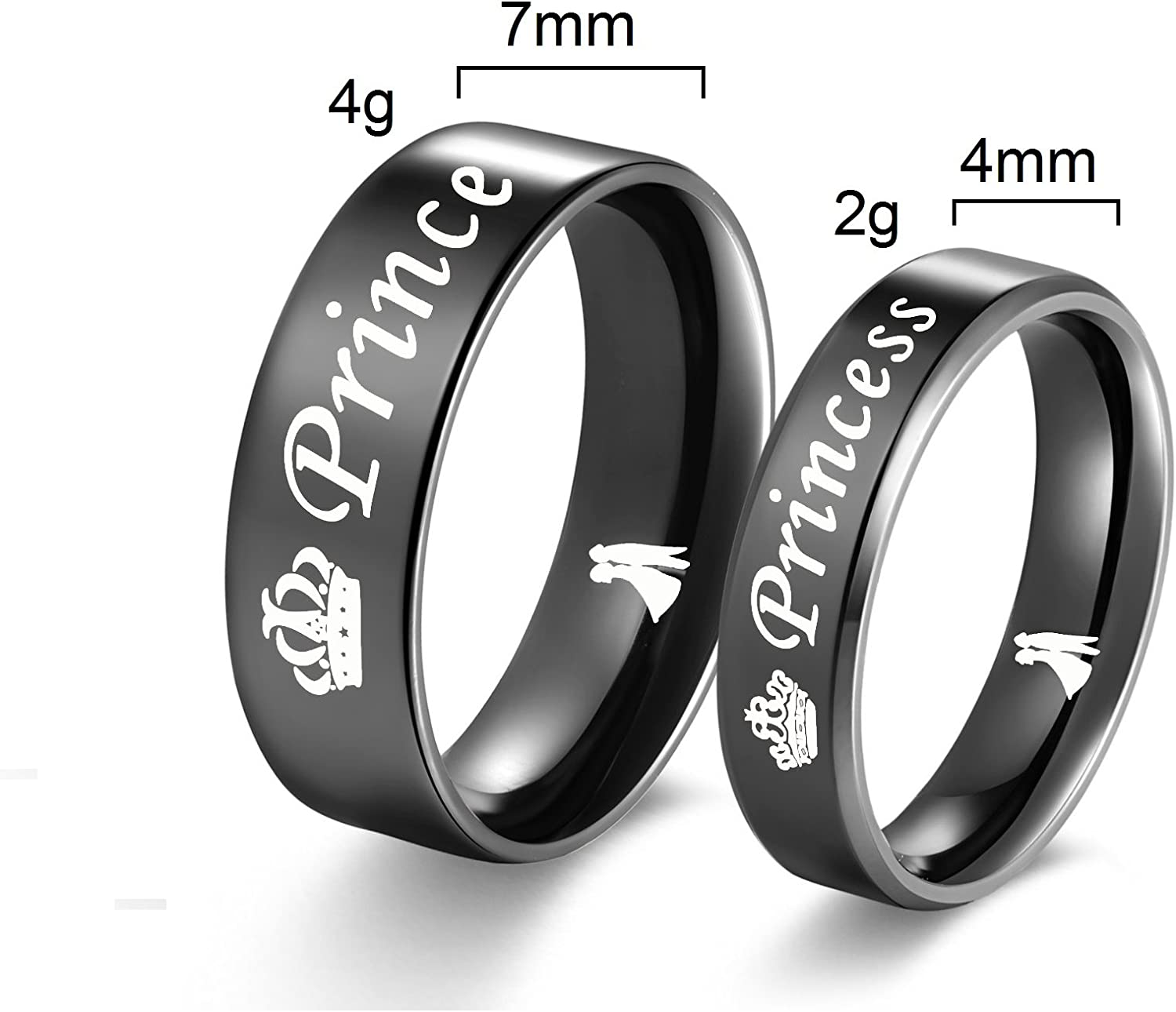 Amazon Com Titanium Stainless Steel Her Prince His Princess Band