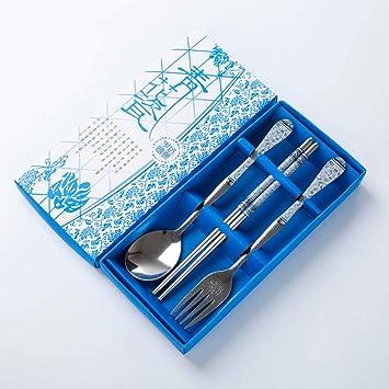 Mazur Conjunto de cubiertos de porcelana azul y blanca de tres piezas Conjunto de palillos de acero inoxidable cuchara de regalo conjunto de regalos al por ...