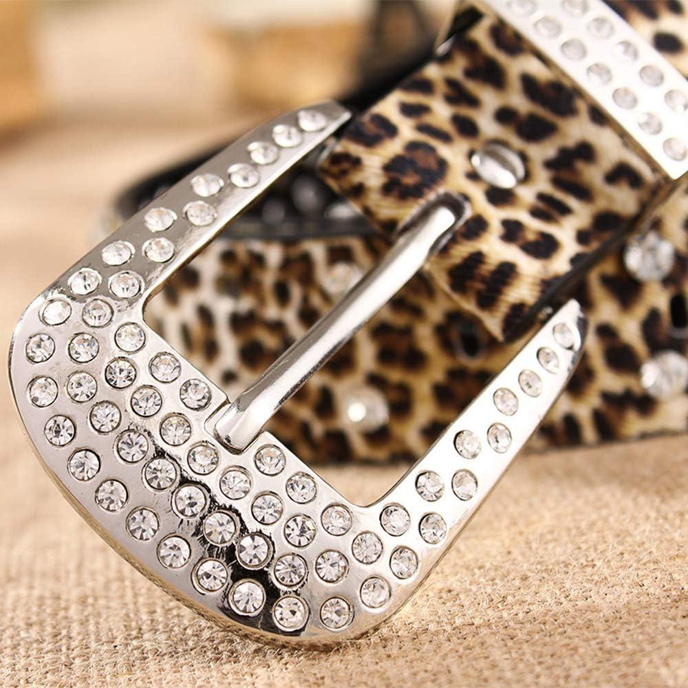 Women Rhinestone Studded Belt Crystal Bling Glitter Leather Waistband Western