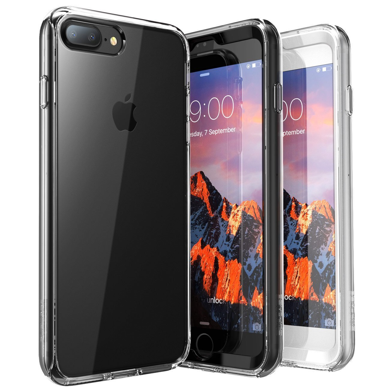 iPhone 7 Plus Case, iPhone 8 Plus Case, SUPCASE Ares Bumper Case includes 2 interchangeable front casings with Built-in Screen Protector for Apple iPhone 7 Plus 2016 / iPhone 8 Plus 2017, Clear by SupCase