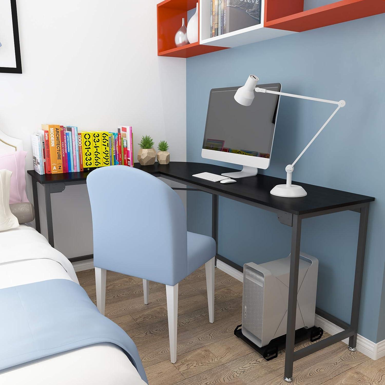 Hago Modern L Shaped Desk Corner Computer Desk Home Office Study Workstation Wood Steel Pc Laptop Gaming Table