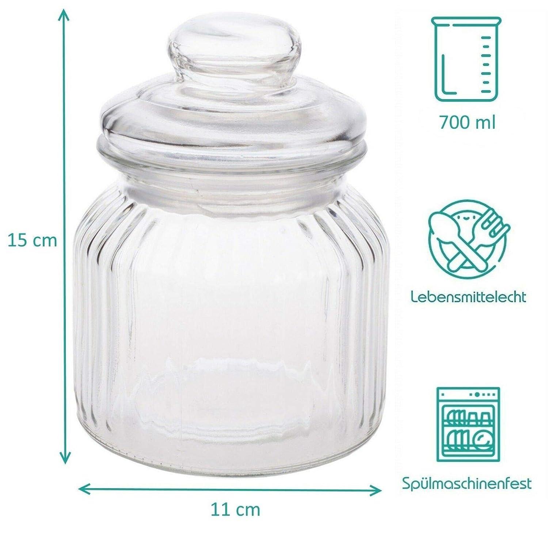Juego de 6 tarros de Cristal Praknu 700 ml, Tapa herm/ética con Junta