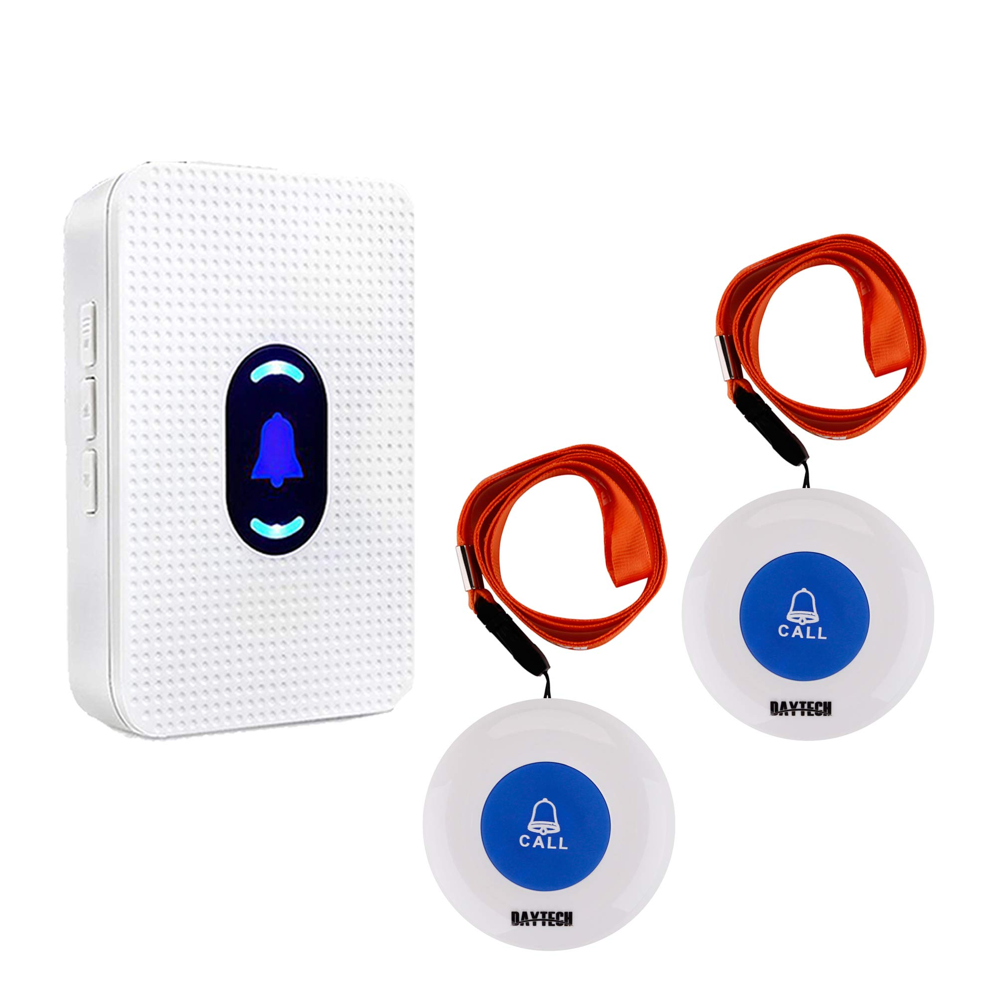 Wireless Caregiver Pager Alert System SOS Call Button for Patient Elderly Personal Home Attendant Nurse Seniors and Disabilities 1 Receivers & 2 Portable Transmitters