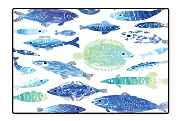 1d58570ec7d Collection Area Rug Artisan Fish Patterns with Wave Lines and Sky ...
