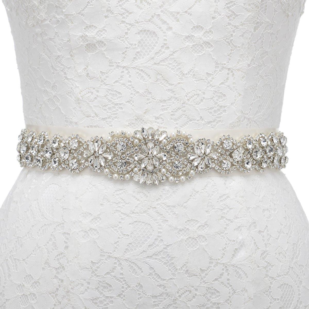 Remedios Sparkling Rhinestone Satin Ribbon Sash Belt for Wedding Evening Party Dress,Ivory Ribbon