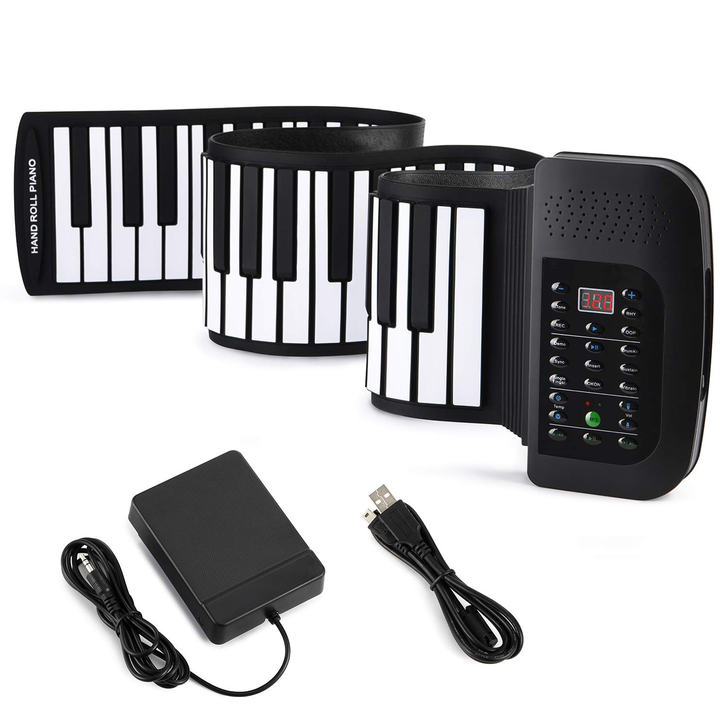 Donner Roll Up Piano Keyboard, 88 Keys Portable for Kids Beginners with Sustain Pedal Black by Donner