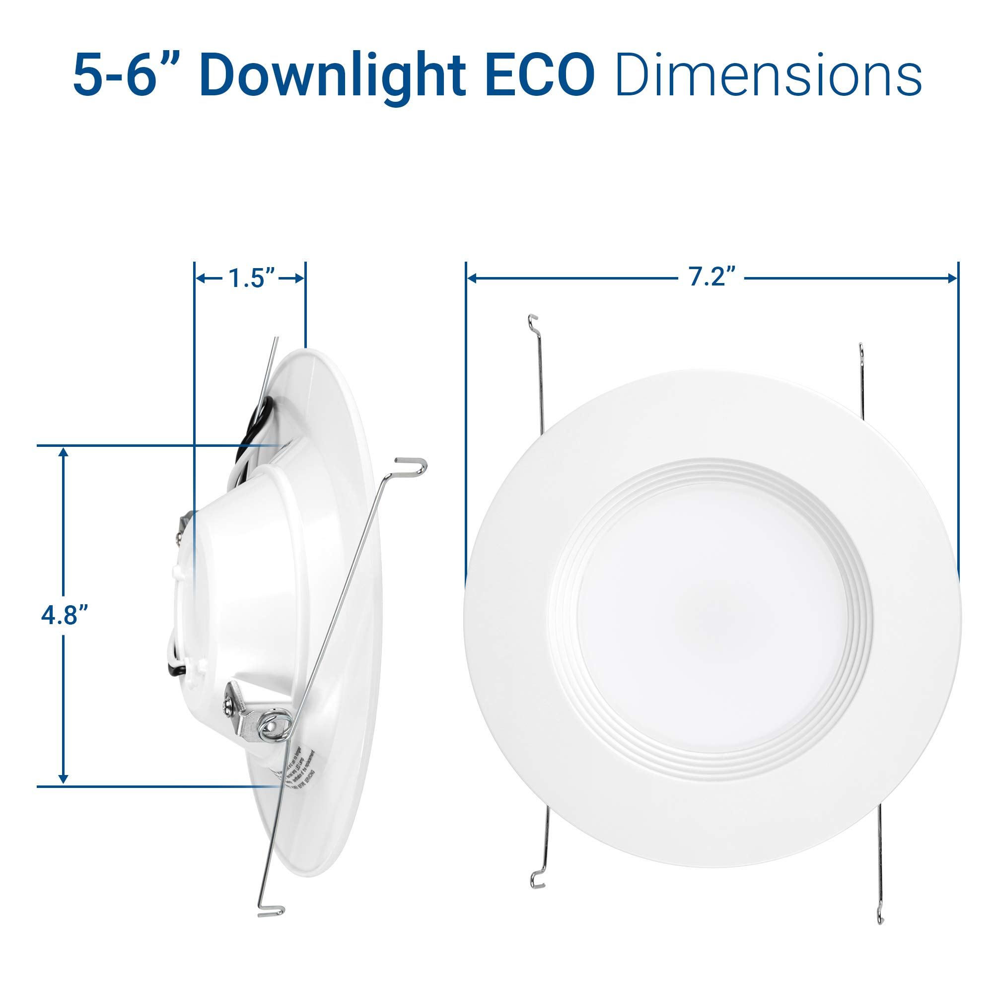"""Hyperikon 6"""" LED Recessed Lights (5 Inch Compatible) 14W Downlight Dimmable (75W Equiv.) LED Retrofit Lighting Fixture, Ceiling Recess Can Lights, Halo Retrofit Baffle Trim, 3000K, CRI84, UL (16 Pack) by Hyperikon (Image #10)"""