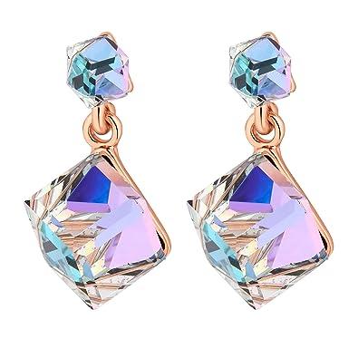 bd59d165e Jon Richard Made With Swarovski® Crystals Women's Aurora Borealis Cube Earring  Made With Swarovski Crystals: Amazon.co.uk: Jewellery
