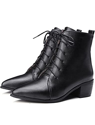 Women's Fashion Pointed Toe Mid Block Heels Martin Booties Ankle Boots Lace Up