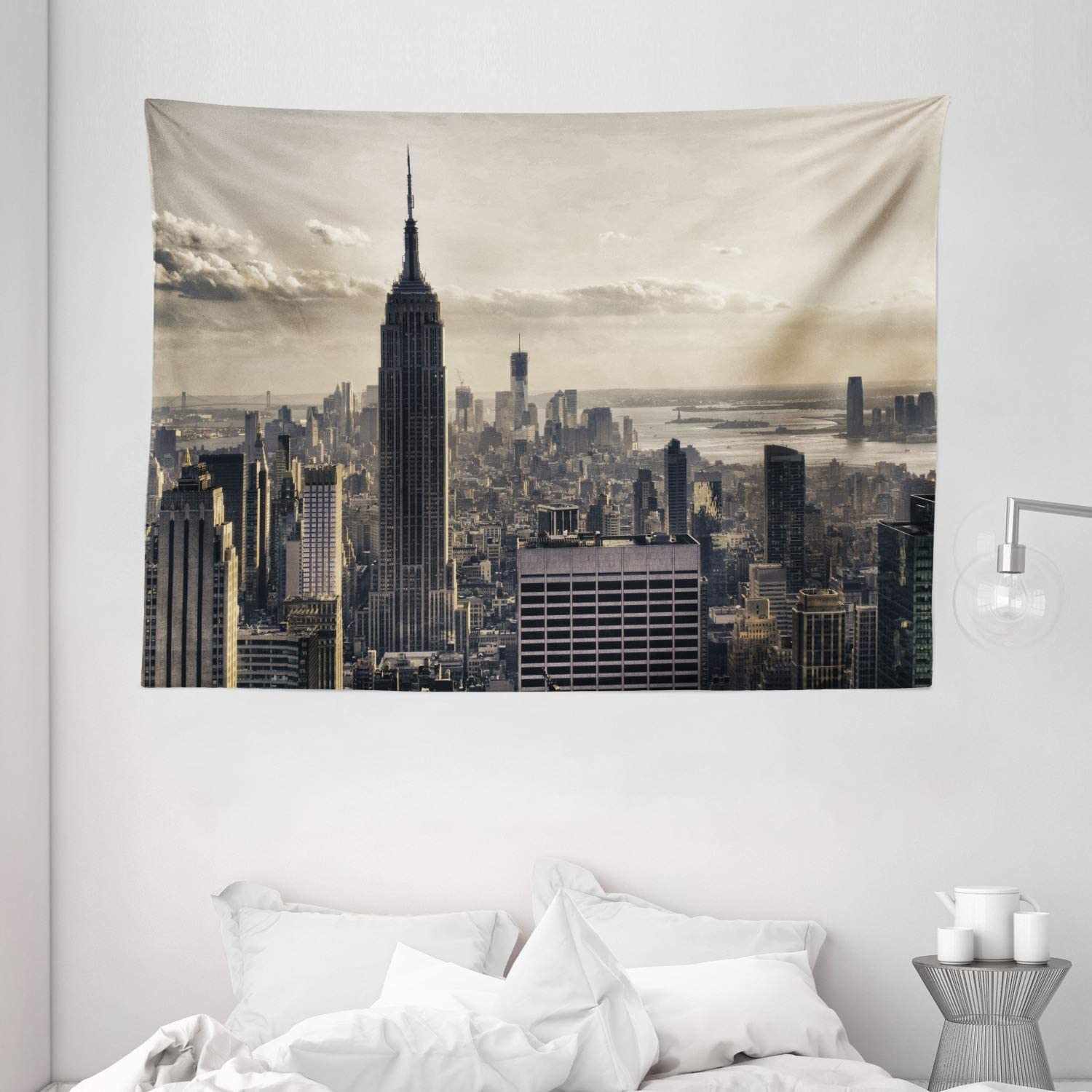 Ambesonne NYC Decor Collection, Aerial View of NYC in Winter Time American Architecture Historical Popular Metropolis Photo, Bedroom Living Room Dorm Wall Hanging Tapestry, 80 X 60 Inches, Beige Grey