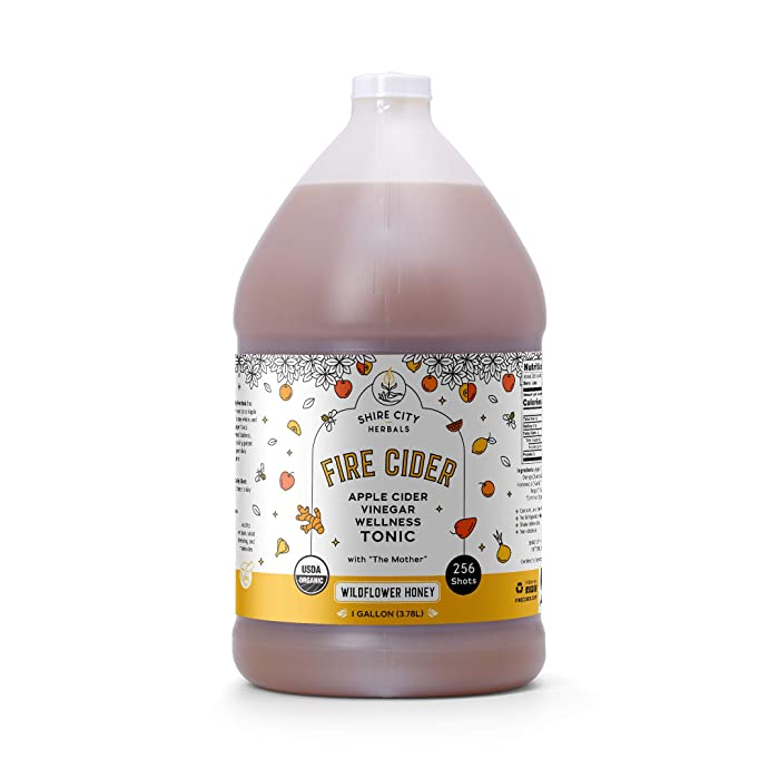 Fire Cider, Tonic, 128 oz (gallon), Wildflower Honey flavor, 256 Daily Shots, Apple Cider Vinegar, Whole, Raw, Organic, Not Heat Processed, Not Pasteurized, Not Diluted, Paleo, Keto, Whole 30.