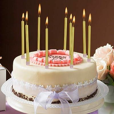 LUTER Metálico Velas de Tarta Cumpleaños Originales Oro Velas de Pastel Cirios con Portavelas para la Decoración del Banquete de Boda de Cumpleaños (24 Piezas): Hogar