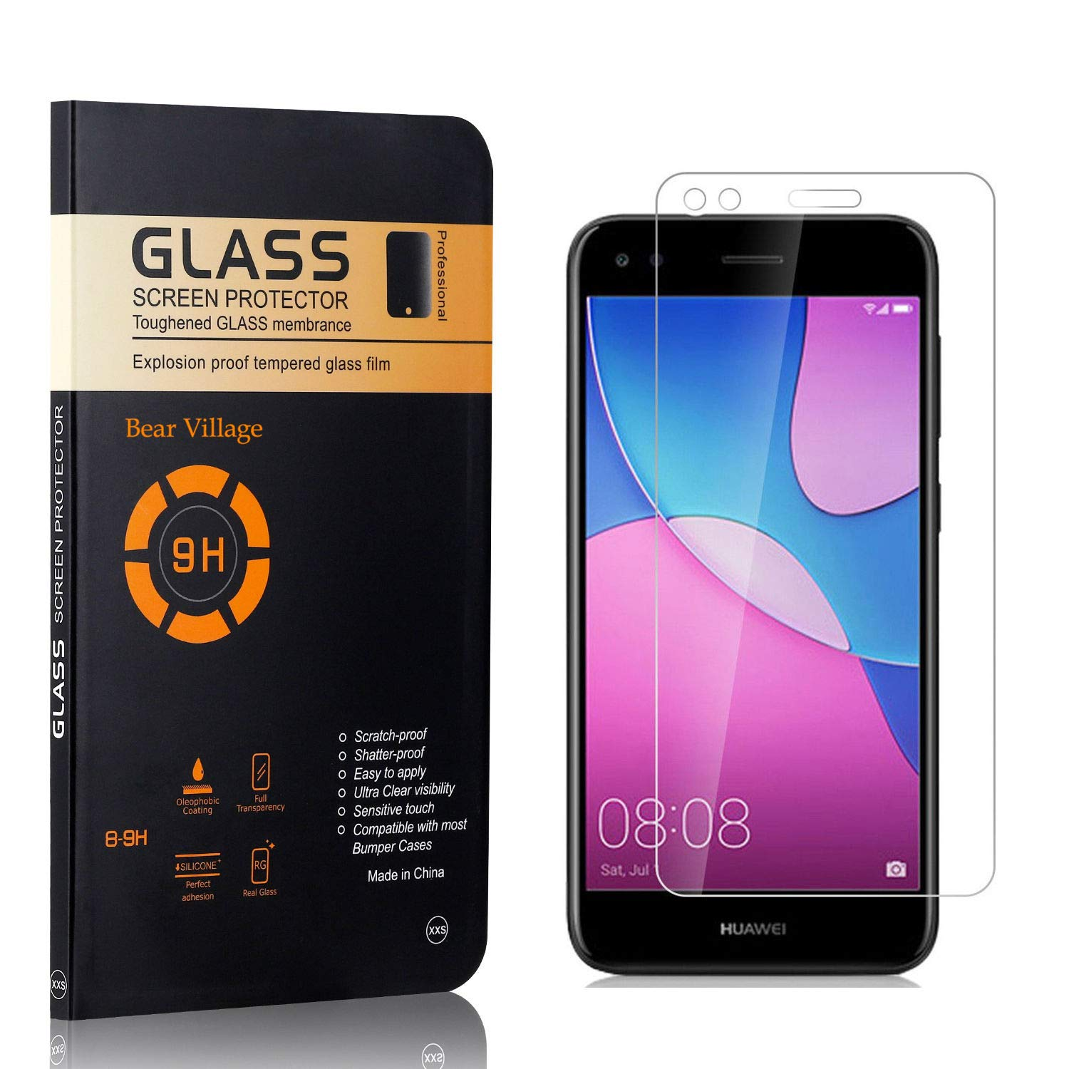 Ultra Clear Screen Protector Film for Huawei P9 Lite Mini 4 Pack Screen Protector for Huawei P9 Lite Mini Bear Village 9H Transparent Tempered Glass Screen Protector