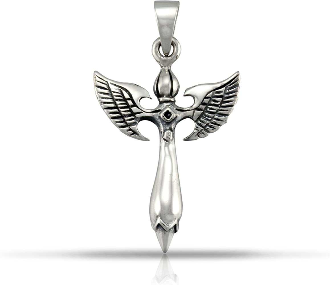 WithLoveSilver Solid 925 Sterling Silver Lovely Charm Cross Angel Wing Pendant