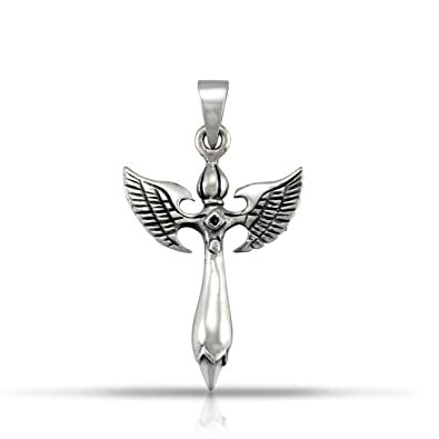 Amazoncom Withlovesilver 925 Sterling Silver Oxidized Cross Angel