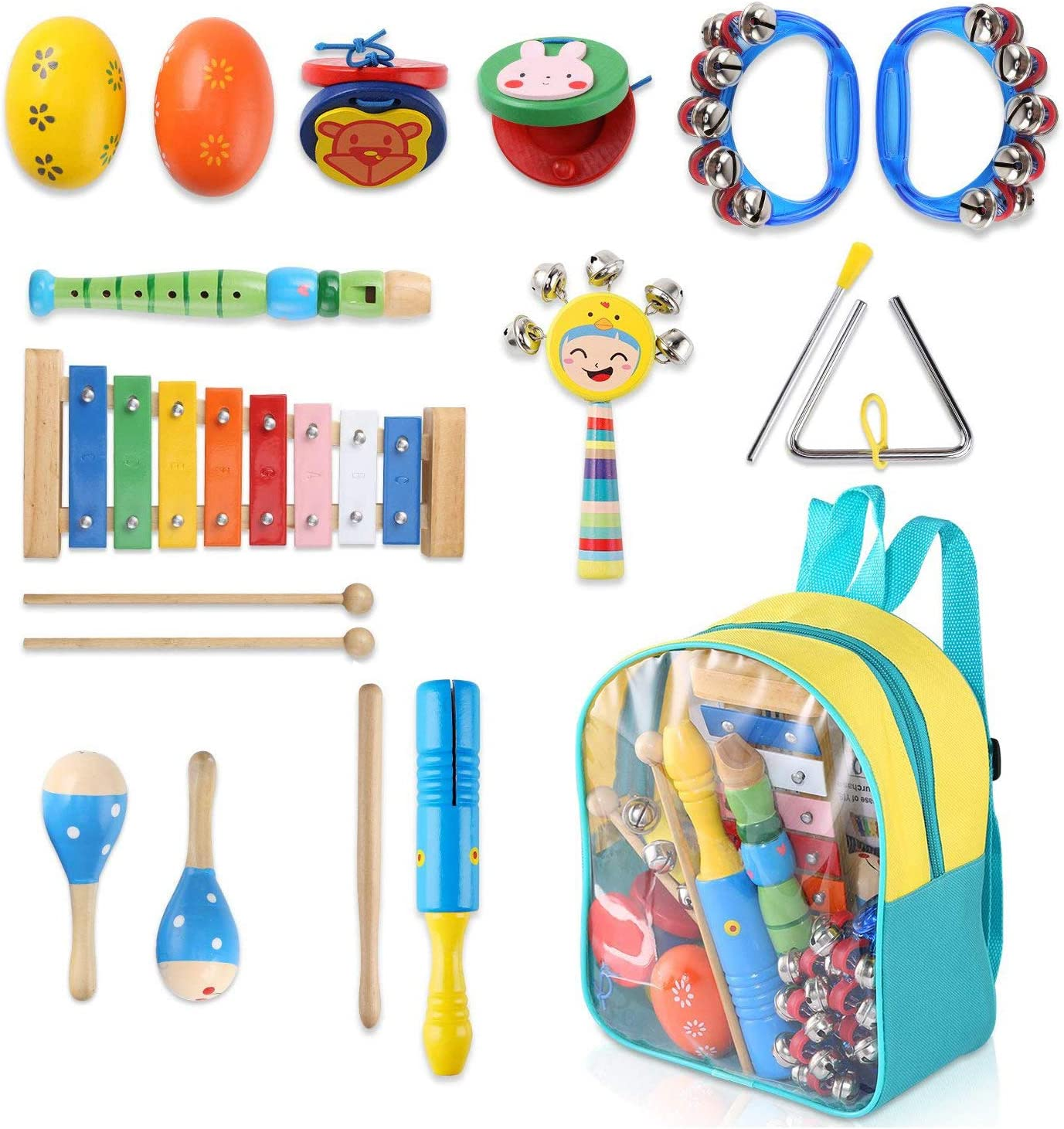 Warooma 13 pcs Musical Instruments Set Music Rhythm Percussion Set Musical Toys with Storage Bag for Boys and Girls Kids Preschool Educational Learning