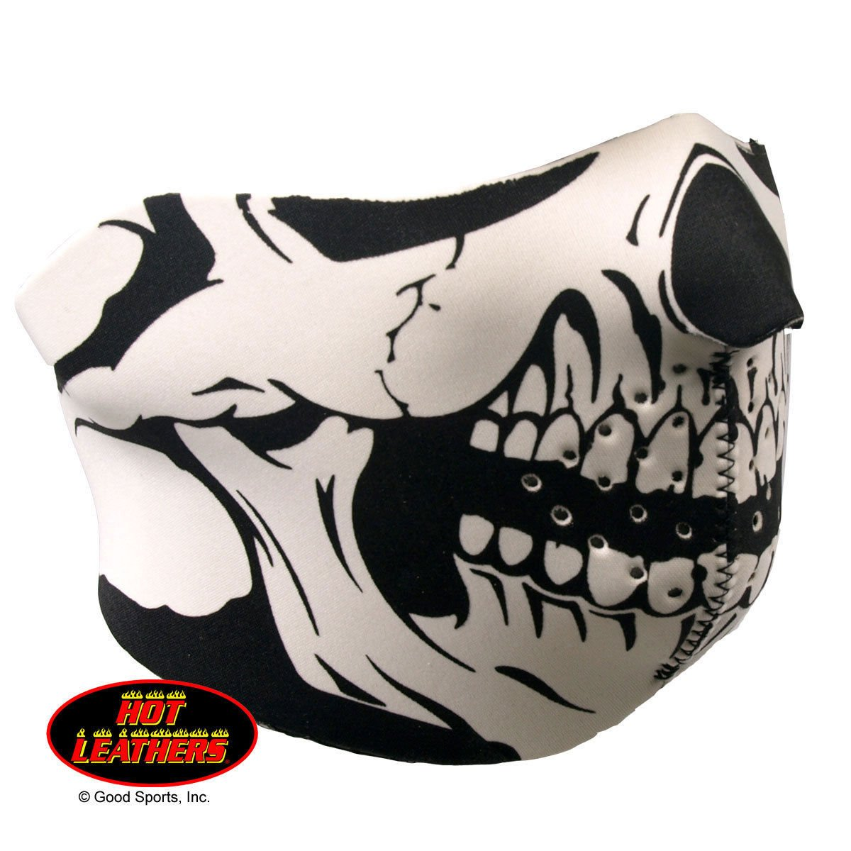Hot Leathers Half Neoprene Face Mask Reversible to Solid Black Classic Black White Skull