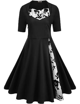 c6bb996a18 ACEVOG Women s Classic A Line Pleated 1950s Vintage Dresses Rockabilly  Swing Party Cocktail Dress
