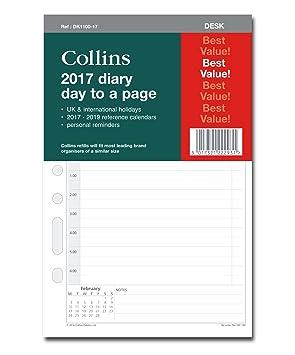Collins - Recambio de hojas para agenda de escritorio 2017 (un día por página): Amazon.es: Oficina y papelería