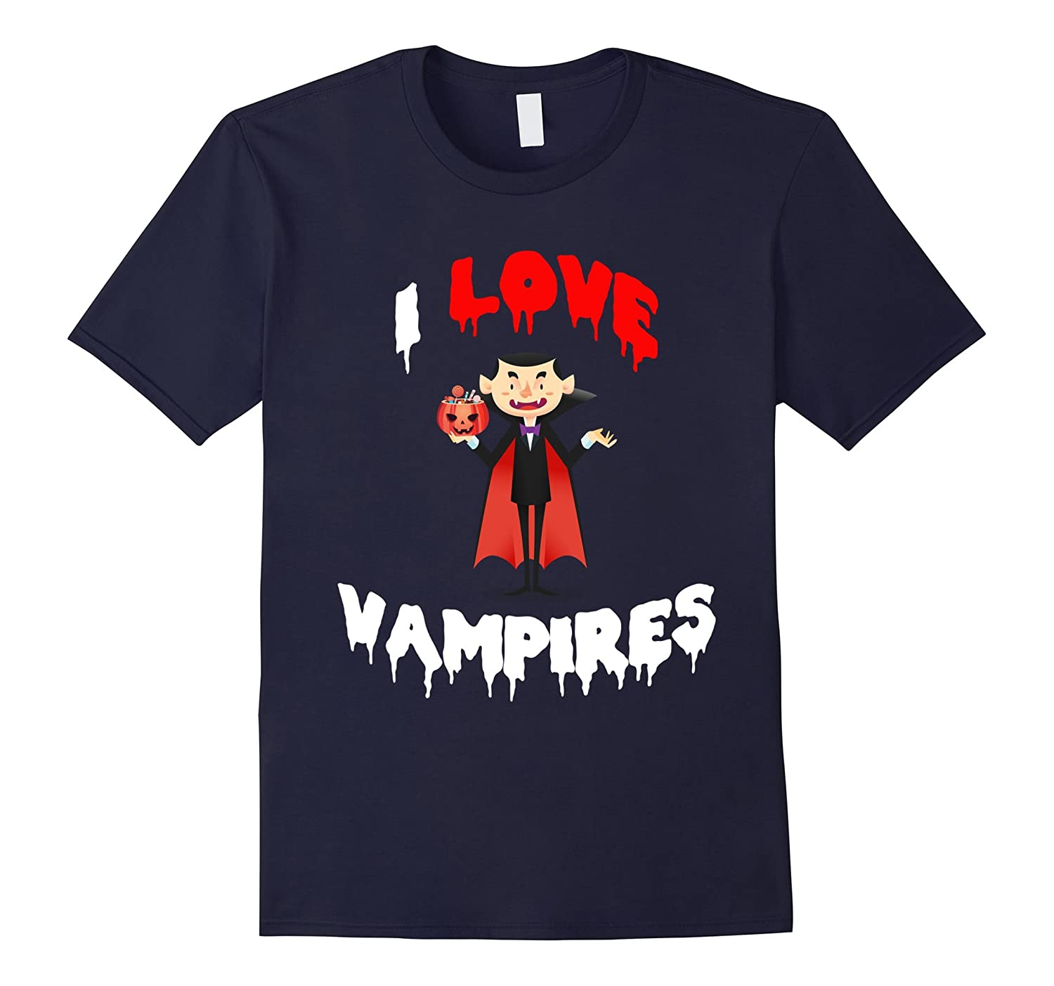 I Love Vampires Funny Count Teeth Biter Scary Spooky T-Shirt-CL