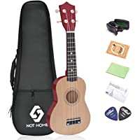 "NOT HOME® 21"" Soprano Ukulele with a Carrying Bag and a Digital Tuner, Specially Designed for Kids, Students and Beginners (Burlywood)"
