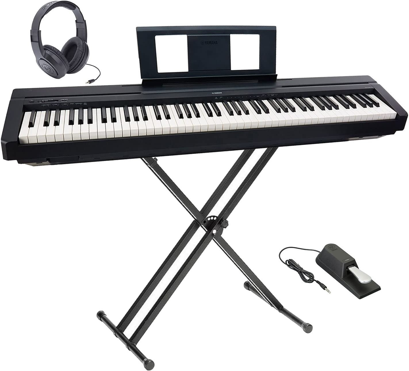 Yamaha P-45 Ultra Platinum teclado paquete con auriculares, soporte doble X y pedal de Sustain