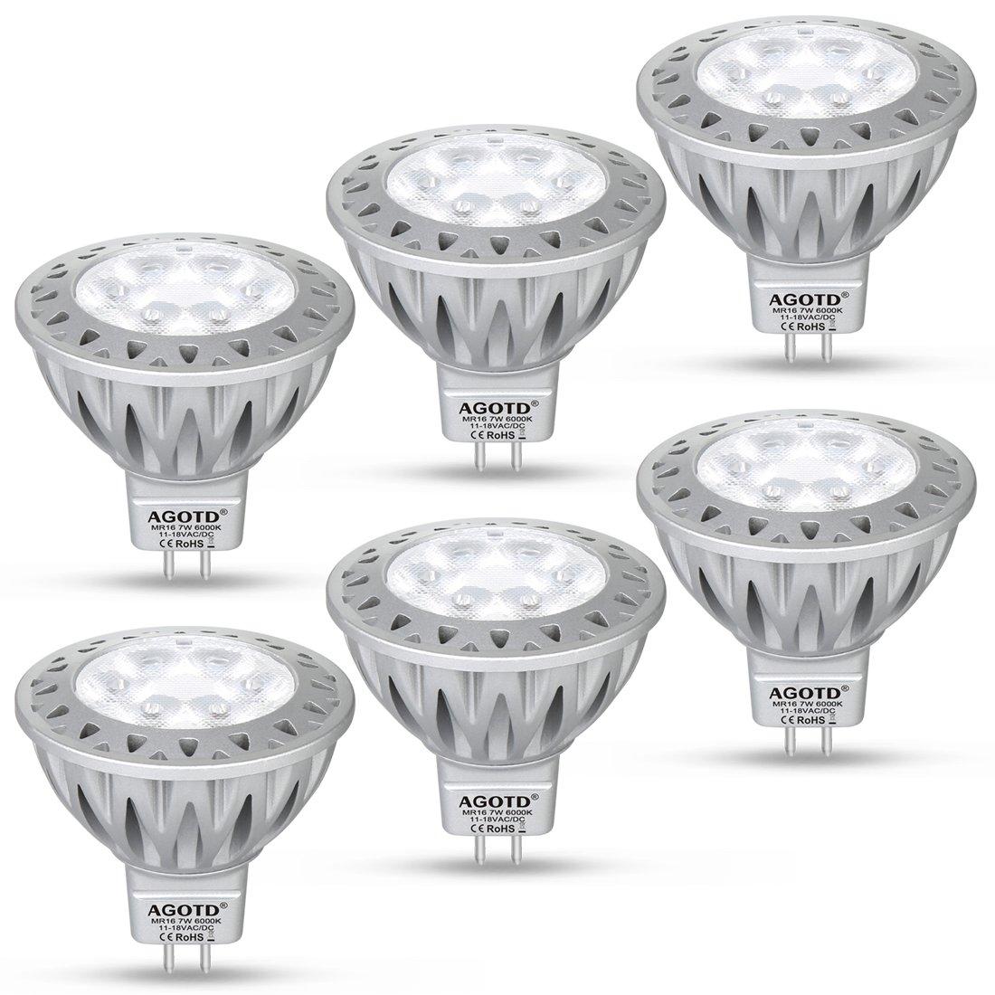 AGOTD GU5.3 MR16 Led Lampe 12V Warmweiß 7W, 50W GU5,3 Halogenlampe Äquivalent,7 Watt GU 5,3 Sockel Glühlampen, Kein Flimmern,Hohe Kompatibilität, 2700K,50mm Durchmesser,Aluminium,560LM, 6er Pack