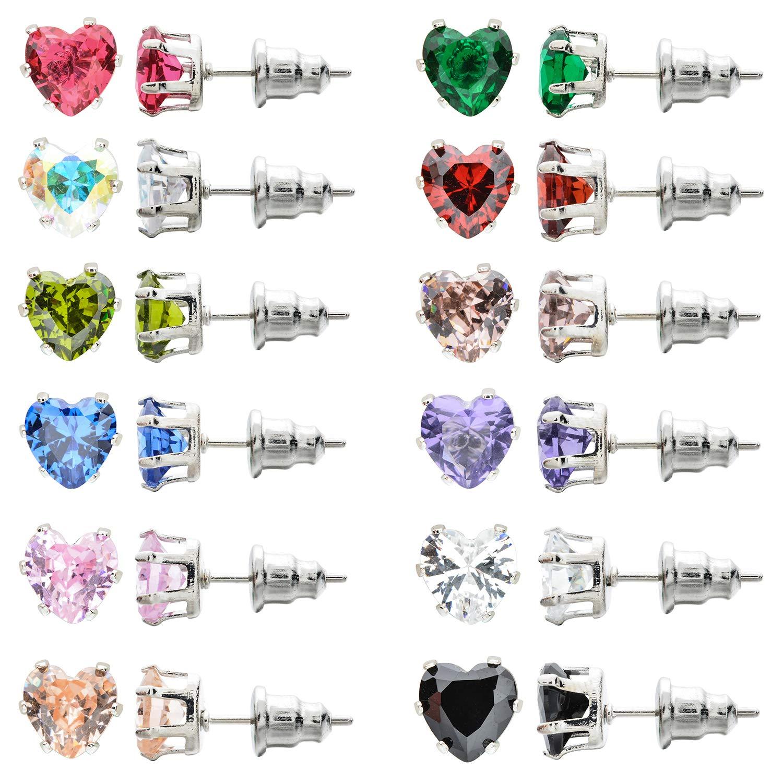 Unrend 10-12Pair AAA Zircon Heart Love Diamond Earring Stud for Women Romantic Silver Jewelry Triangle CZ Ear Stud Set 6mm (A3:12 Pairs a Set)