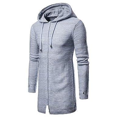 Suéter de Punto Largo de los Hombres, ♚ Absolute otoño Invierno con Capucha de Punto sólido Chaqueta de Punto de la Chaqueta de Manga Larga Outwear Abrigo ...