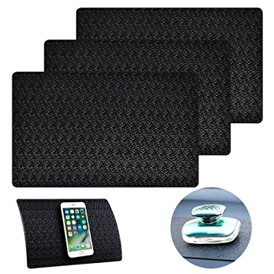 "3 Pcs Car Dashboard Pads Non-slip 11"" x 7"", AIFUDA Anti-Slip Ripple Sticky Dash Grip Mat for Coin Phone Key Sunglasses - Black"