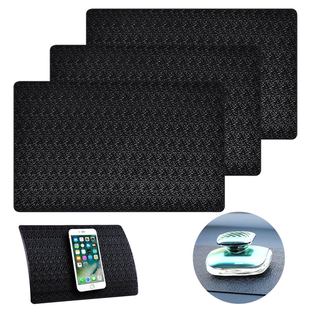 3 Pcs Car Dashboard Pads Non-slip 11'' x 7'', AIFUDA Anti-Slip Ripple Sticky Dash Grip Mat for Coin Phone Key Sunglasses - Black by AIFUDA