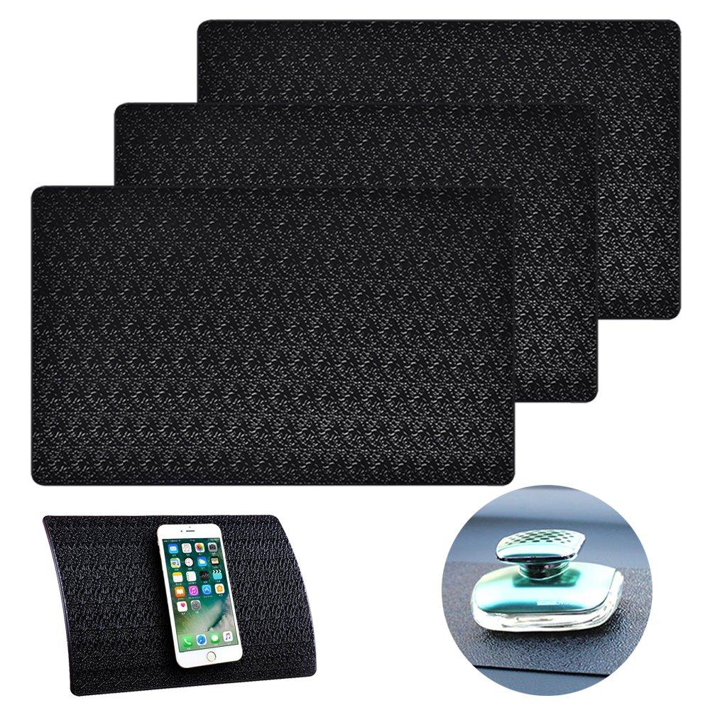 AIFUDA 3 Pcs Car Dashboard Pads Non-slip 11'' x 7'', Anti-Slip Ripple Sticky Dash Grip Mat for Coin Phone Key Sunglasses - Black