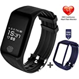 Fitness Tracker, FUNBOT Activity Tracker Continuous Heart Rate Monitor Smart Bracelet IP67 Waterproof Fitness Watch Sleep Monitor Pedometer Calorie Counter with Replacement Band for Android & iOS