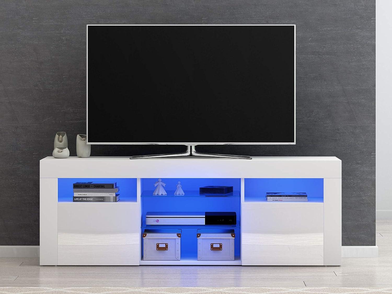 Mobiletto per TV a LED con corpo bianco opaco camera da letto 135 cm Corpo bianco e frontali bianchi. Keinode con frontali lucidi e luci RGB per soggiorno ufficio