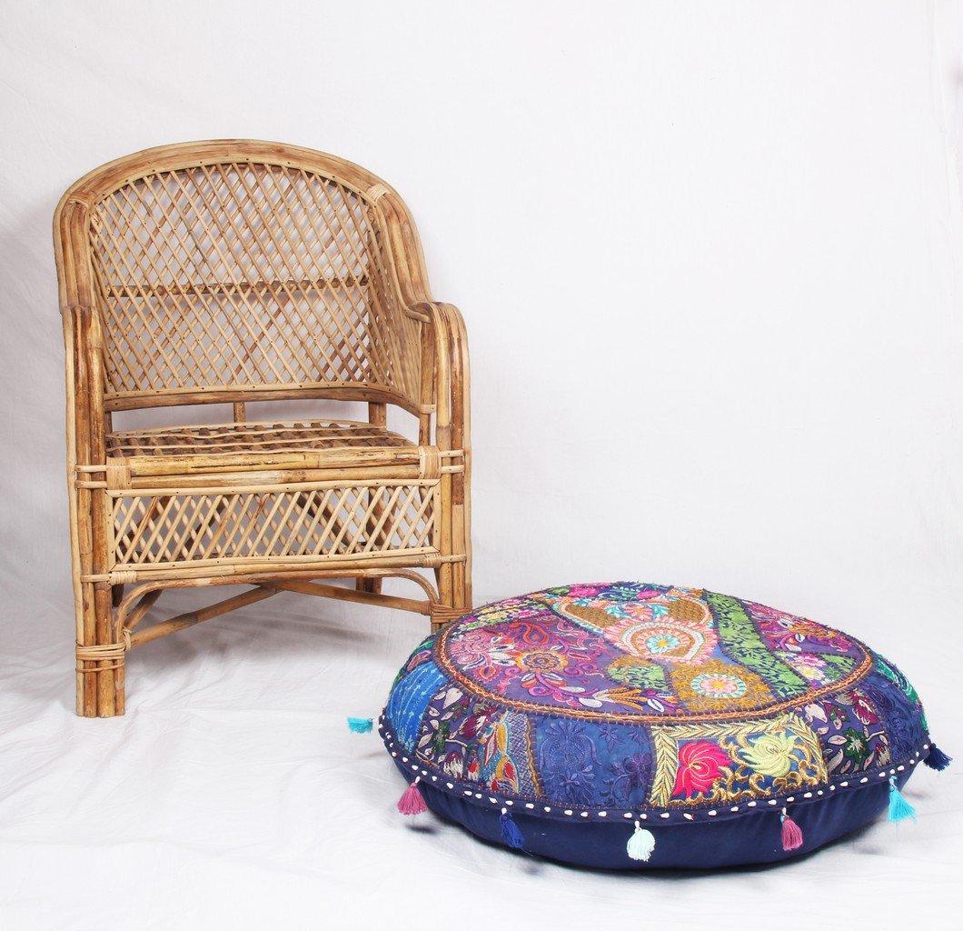 Jaipurtextilehub JTH Decorative Vintage pouf Ottoman Patchwork Embroidered Footstool (Size: 32X9X32 Inch) Jaipur Textile Hub