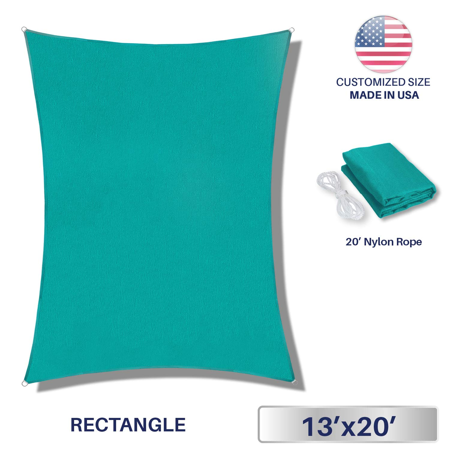Windscreen4less 13' x 20' Rectangle Sun Shade Sail - Solid Turquoise Durable UV Shelter Canopy for Patio Outdoor Backyard - Custom