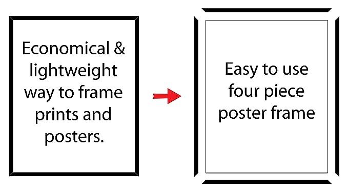 Amazon.com: Black plastic POSTER size frame with Corrugated Backing ...