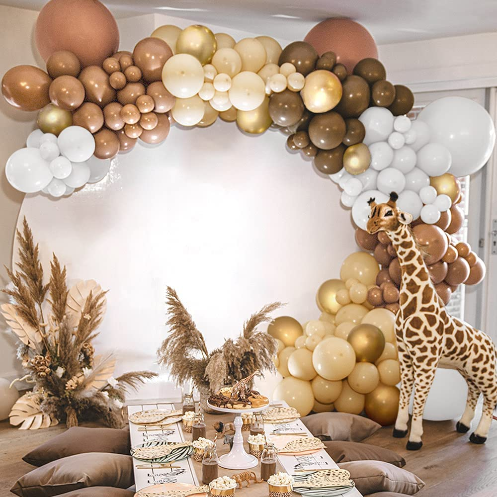 Sweet Baby Co. Brown Balloon Garland Kit with Neutral Color Matte White, Nude Beige, Light Brown, Dark Brown, Gold Balloons Arch for Safari Bear Themed, Party Decorations, Boho Baby Shower, Birthday
