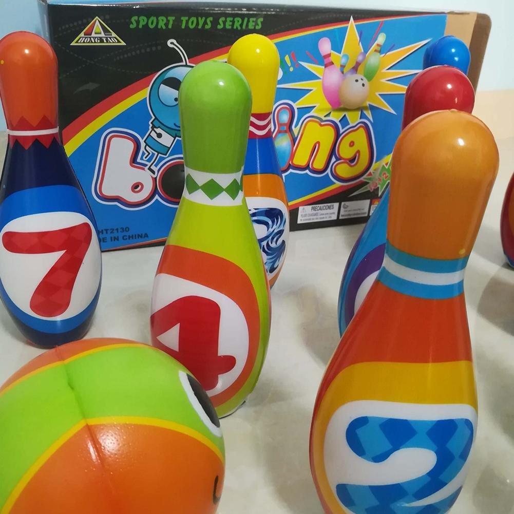 Purebesi Conjunto de bolos de juguete,Niños Bolos Juguetes Interior y exterior Interactivo Puzzle Deportes(6 pines + 2 Pelotas): Amazon.es: Bebé