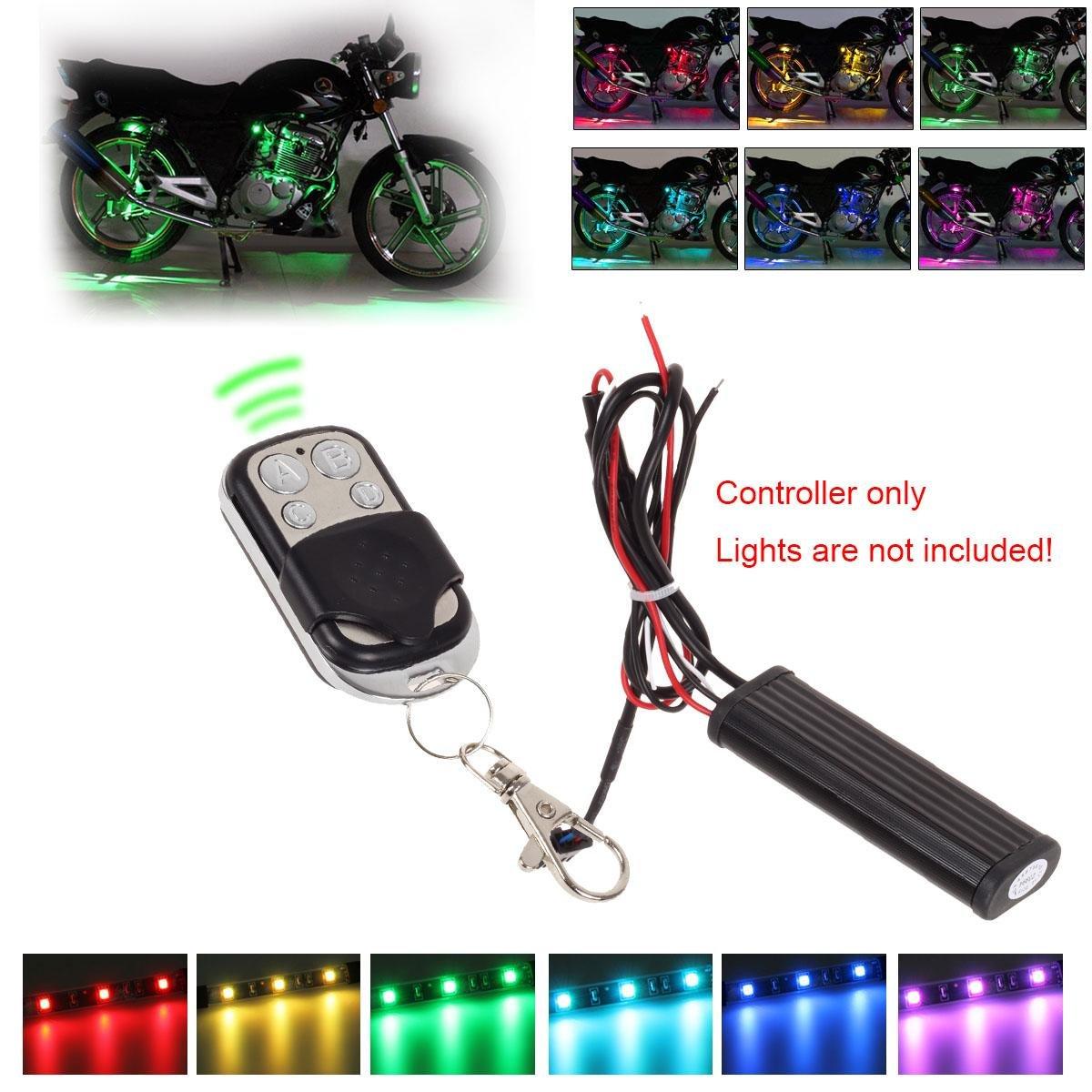 Partsam Wireless Remote Controller Kit Multi-color RGB LED lights Controller for 12V Car Truck Motorcycles LED Strip Light Bar - Controller & Remote Only 129820