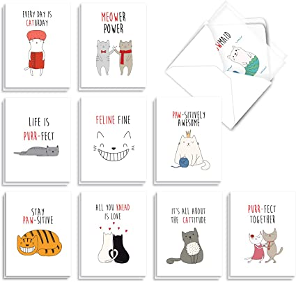 - Litters Letters AM7058OCB-B2x10 10 Designs, 2 Each 20 Adorable Cat Greeting Cards 4 x 5.12 Inch The Best Card Company - Blank Assortment
