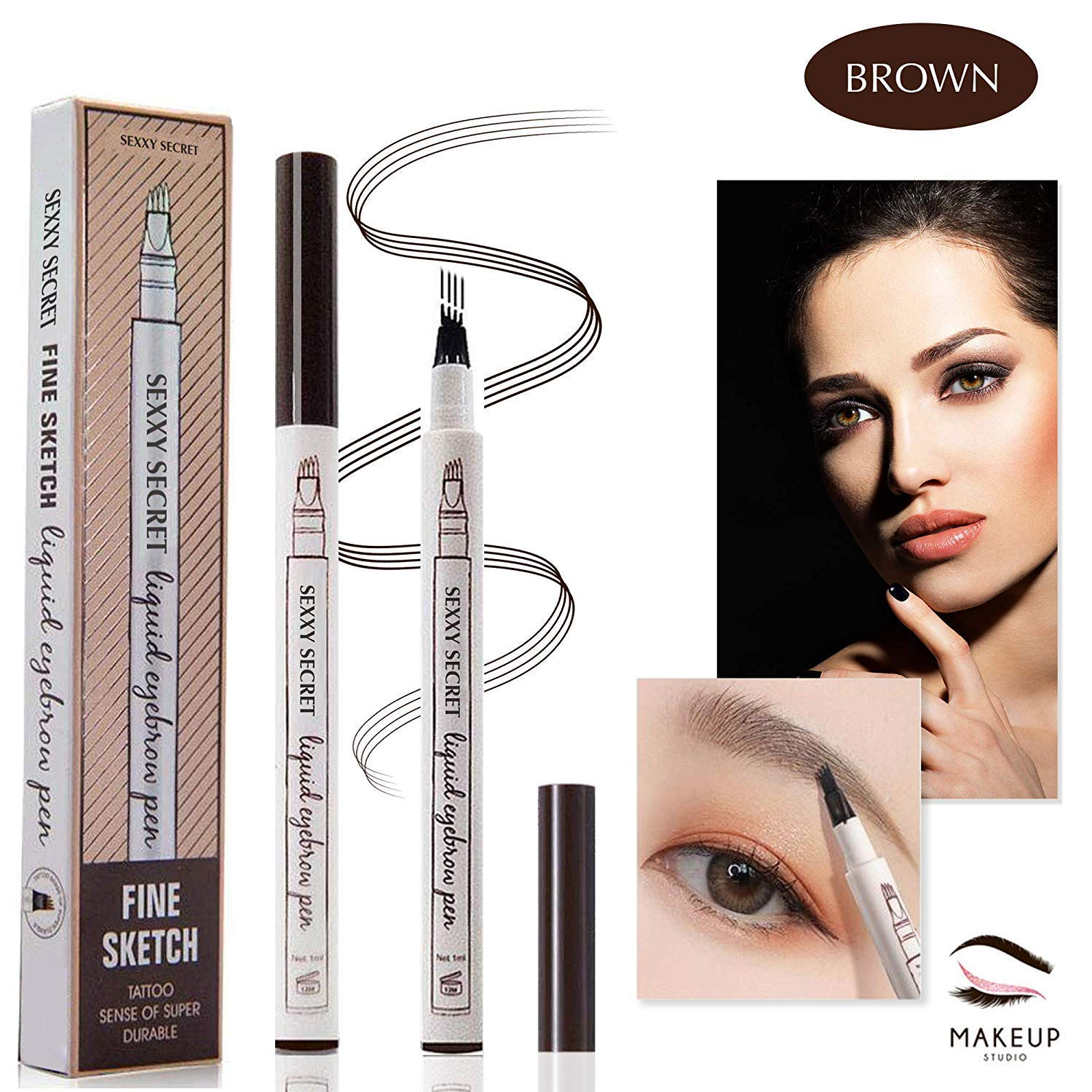Eyebrow Tattoo Pen Microblading Eyebrow Pencil Tattoo Brow Ink Pen with a Micro-Fork Tip Applicator Creates Natural Looking Brows Effortlessly and Stays on All Day Brown