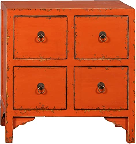 Antique Revival Wooden 4-Drawer End Table