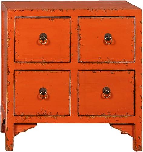Antique Revival Wooden 4-Drawer End Table, Orange