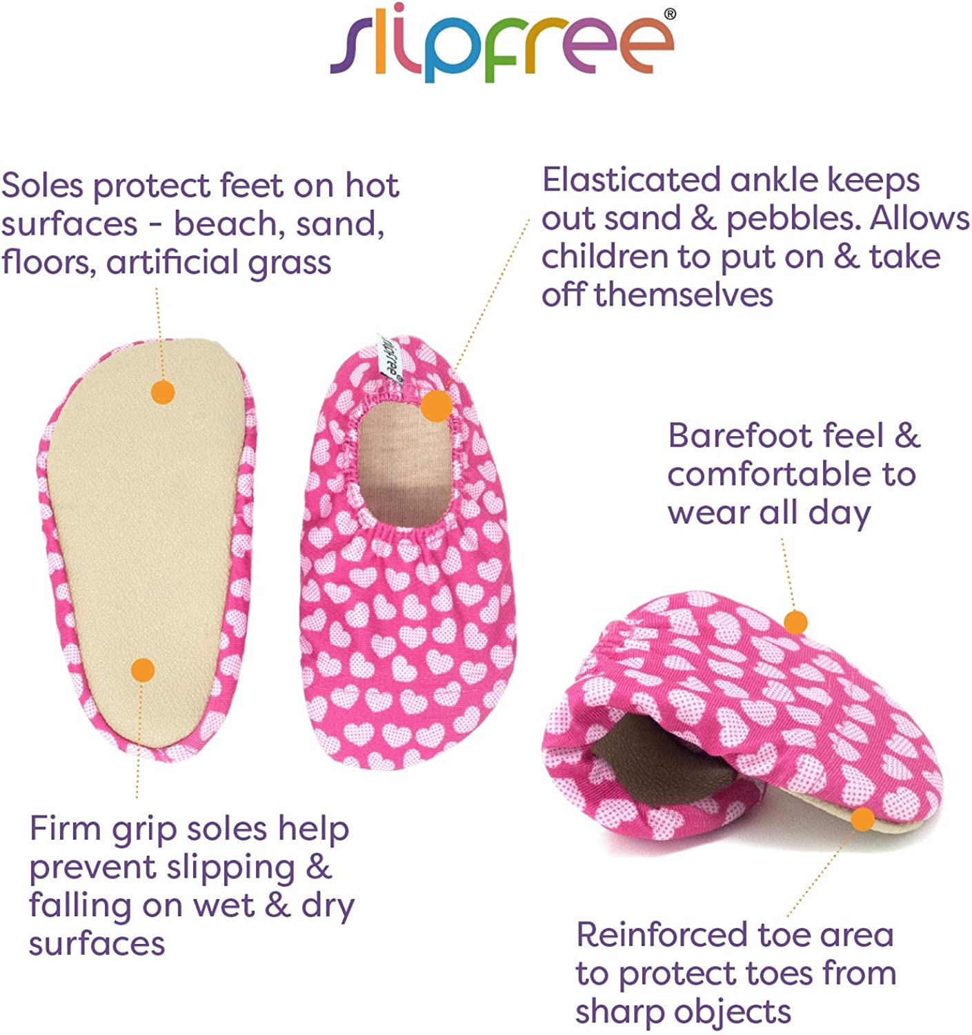 Girls Non-Slip UPF50+ Barefoot Swim Dancer Extra Small Slipfree Water Shoes for Beach Pool and Home