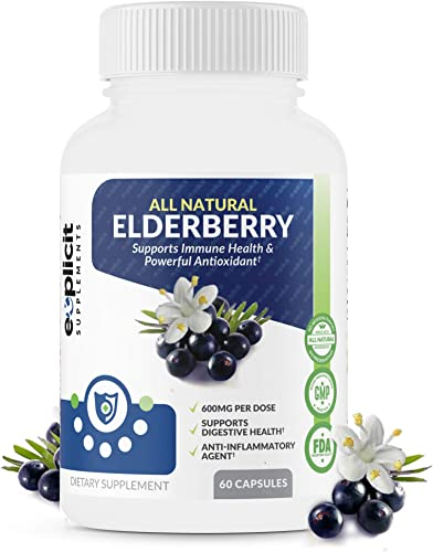 All Natural Elderberry Supplement – Powerful Antioxidant Elderberry Capsules – Extra Strength 1200mg – Supports Immune Health – Made in USA – 1 Month