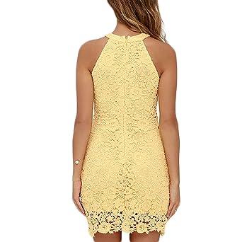 ... Casual Lace Encaje Irregular Color Sólido Corto Vestido Mini Vestido vestido ocasional Vestido de verano Noche de Vestido: Amazon.es: Ropa y accesorios