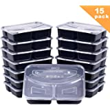 Meal Prep Containers, [15 Pack] Bayco 3 Compartment Bento Box, Food Prep Containers, lunch containers with lids - BPA Free, Stackable, Reusable, Microwave, Dishwasher & Freezer Safe (36oz)
