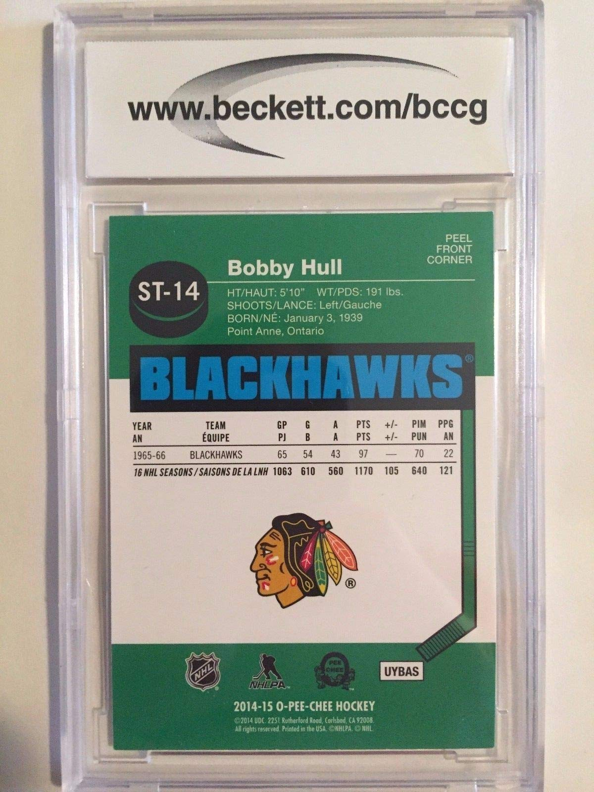 2014 15 O Pee Chee Autographed Signed Bobby Hull Sticker Beckett Authentic