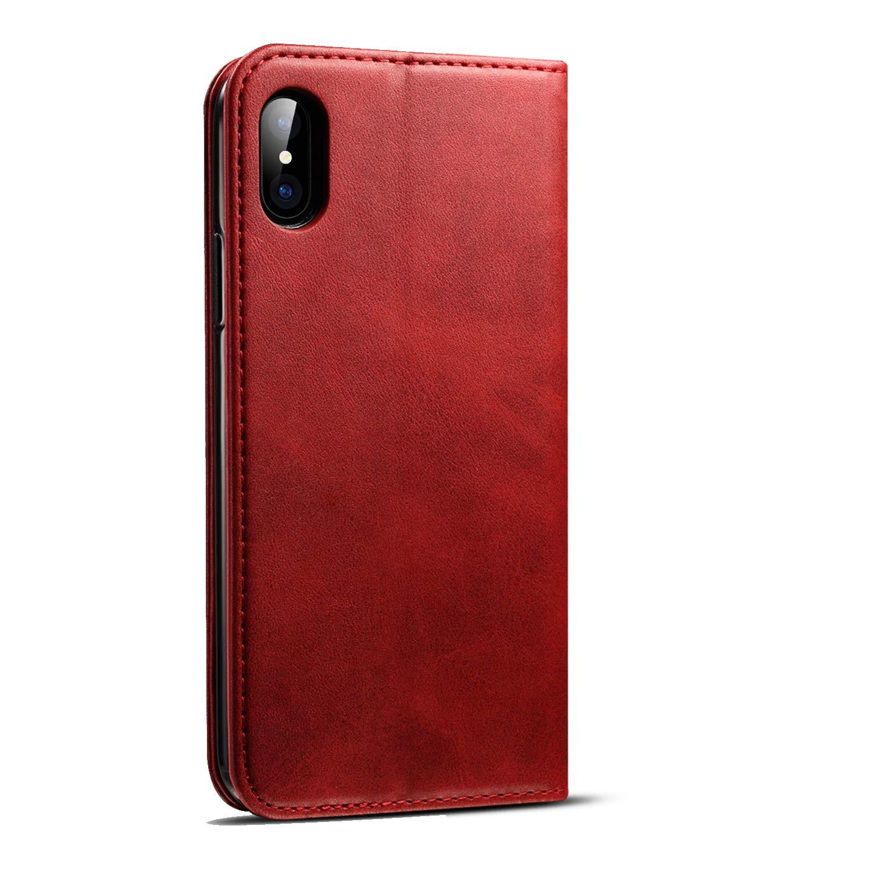 Lunazoe iPhone X Khaki Case PU Leather Wallet case with Card Slots